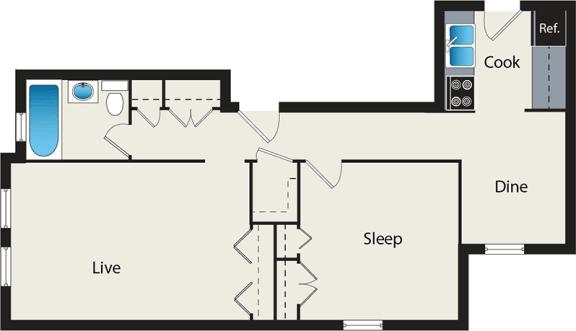 Floor Plan  One-Bedroom Floor Plan at Reside at 849