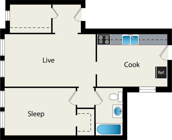 Floor Plan  1 bedroom floor plan at reside at 849