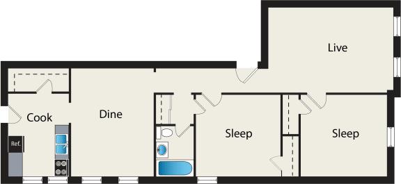 Floor Plan  2 Bedroom 1 Bathroom Floorplan at Reside at 849