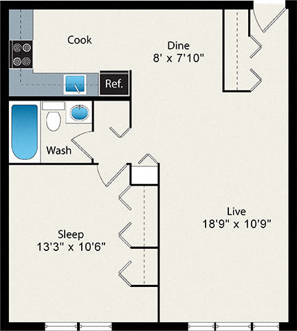 Floor Plan  1-Bedroom Medium Floor Plan
