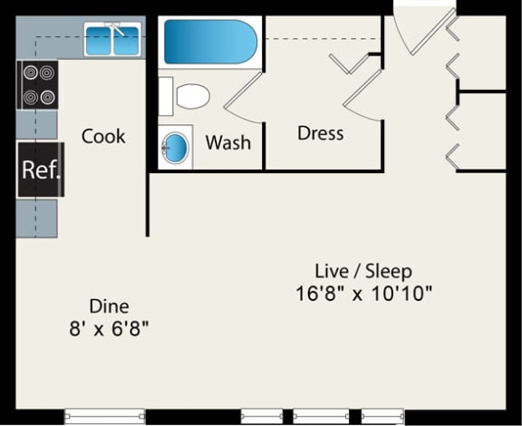 Floor Plan  Studio Floor Plan Option 1 at Reside at 2727 Apartments, Chicago, IL