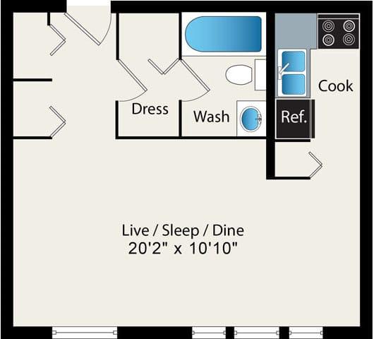 Floor Plan  Studio Floor Plan Option 3 at Reside at 2727 Apartments, 2727 N Pine Grove Ave, 60614