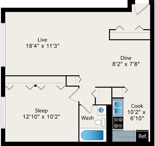 Floor Plan  1 bedroom floor plan at Reside on Pine Grove