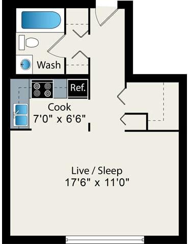 Floor Plan  studio floor plan at Reside on Pine Grove