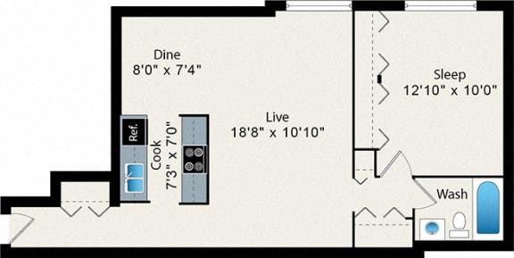 Floor Plan  Reside on Pine Grove One Bedroom Floor Plan