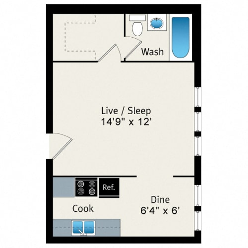 Floor Plan  Studio - Medium Floorplan at Reside at 823