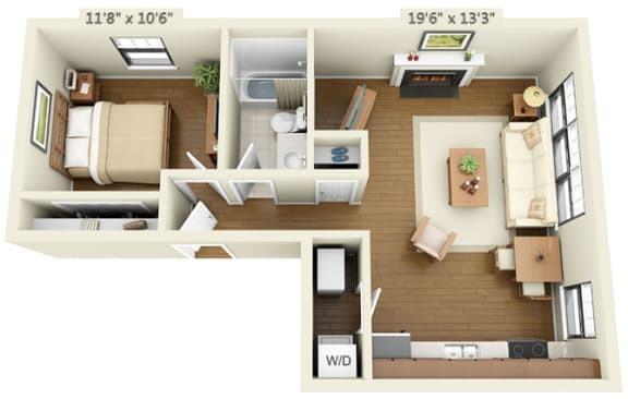 Floor Plan  1 bedroom floor plan at the Belmont by Reside Flats, opens a dialog.