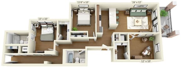 Floor Plan  floor plan at the Belmont by Reside Flats, opens a dialog.