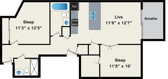 Floor Plan  Two-Bedroom Floorplan, opens a dialog.