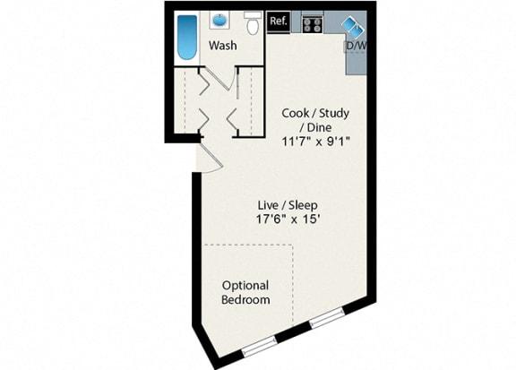 Floor Plan  Convertible Floor Plan at Reside on Clark