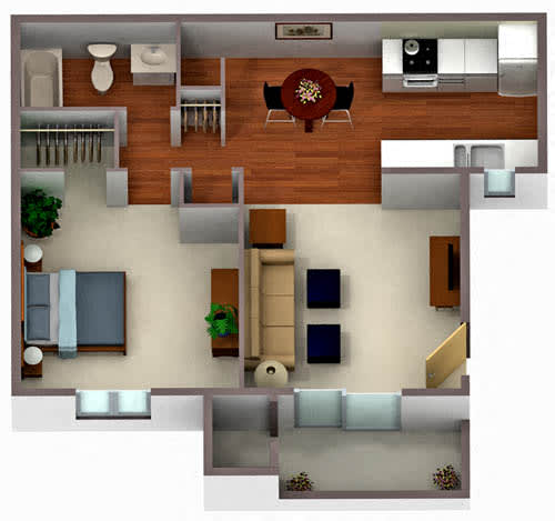 Floor Plan  Palm Crest at Station 40_Phoenix AZ_Floor Plan_One Bedroom One Bathroom