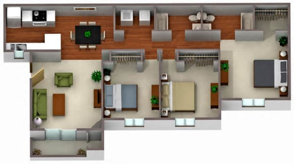 Floor Plan  Palm Crest at Station 40_Phoenix AZ_Floor Plan_Three Bedroom Two Bathroom Duplex