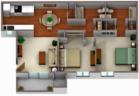 Floor Plan  Palm Crest at Station 40_Phoenix AZ_Floor Plan_Two Bedroom Two Bathroom