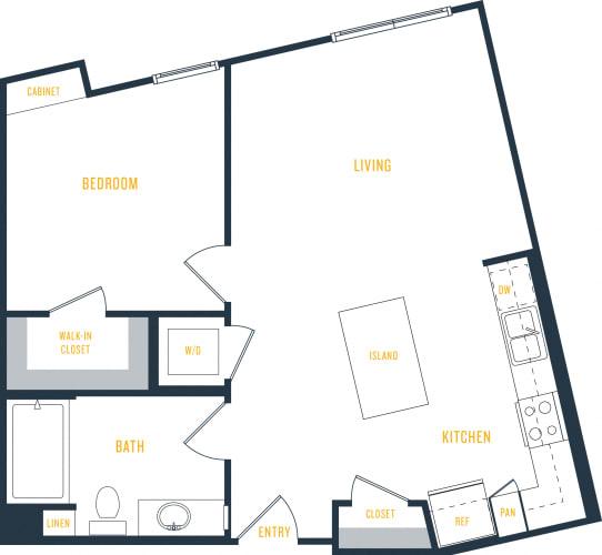 Floor Plan  Plan 6 - 1 Bedroom 1 Bath Floor Plan Layout - 677 Square Feet