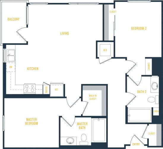Floor Plan  Plan 11 - 2 Bedroom 2 Bath Floor Plan Layout - 1048 Square Feet