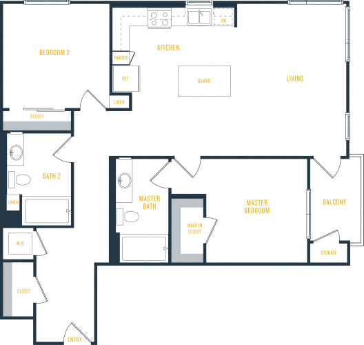 Floor Plan  Plan 12 - 2 Bedroom 2 Bath Floor Plan Layout - 1140 Square Feet