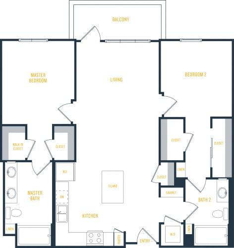 Floor Plan  Plan 13 - 2 Bedroom 2 Bath Floor Plan Layout - 1155 Square Feet