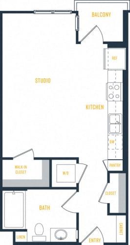 Floor Plan  Plan 1 - 0 Bedroom 1 Bath Floor Plan Layout - 519 Square Feet