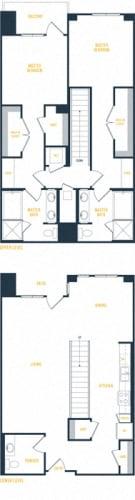 Floor Plan  Plan 18 Townhome - 2 Bedroom 2.5 Bath Floor Plan Layout - 1777 Square Feet