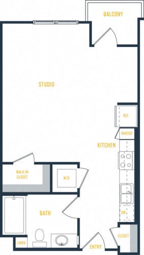 Floor Plan  Plan 2 - 0 Bedroom 1 Bath Floor Plan Layout - 560 Square Feet