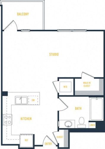 Floor Plan  Plan 3 - 0 Bedroom 1 Bath Floor Plan Layout - 583 Square Feet