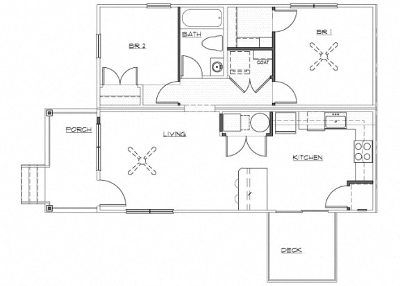 Floor Plan  Riverwoods at Denton Floor Plan A1- Renovated 2 Bedroom 1 Bathroom Apartment, opens a dialog.