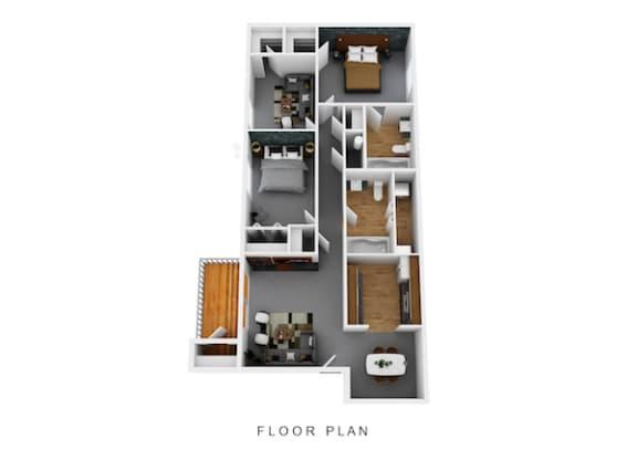 Floor Plan  Three Bedroom Two Full Bath