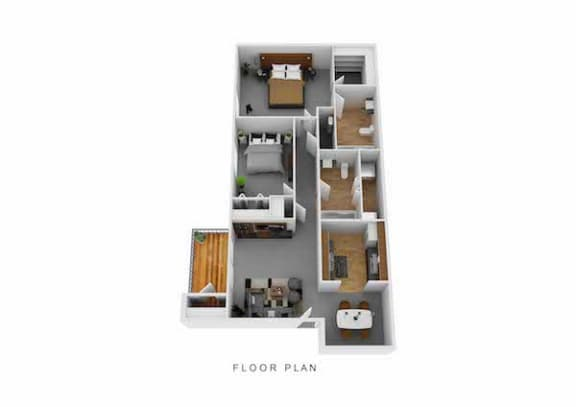 Floor Plan  Two Bed Two Full Bath