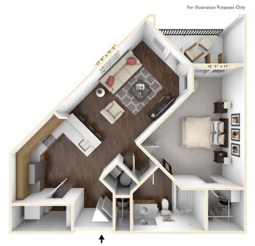 Floor Plan  A1 - 1 Bed - 1 Bath Floor Plan at Avant Apartments, Carmel, IN