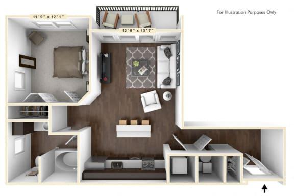 Floor Plan  A2 - 1 Bed - 1 Bath Floor Plan at Avant Apartments, Carmel, 46032