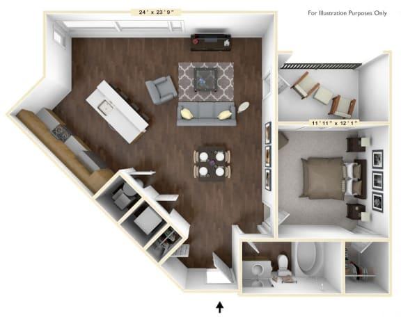 Floor Plan  A3 - 1 Bed - 1 Bath Floor Plan at Avant Apartments, Carmel, Indiana