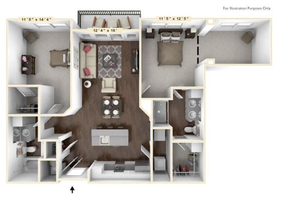 Floor Plan  B3 - 2 Bed - 2 Bath With Den Floor Plan at Avant Apartments, Carmel, 46032