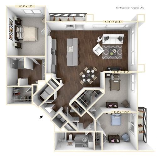 Floor Plan  C1 - 3 Bed - 2 Bath Floor Plan at Avant Apartments, Indiana, 46032