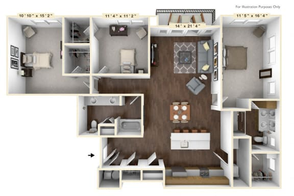 Floor Plan  C2 - 3 Bed - 2 Bath Floor Plan at Avant Apartments, Carmel, IN, 46032
