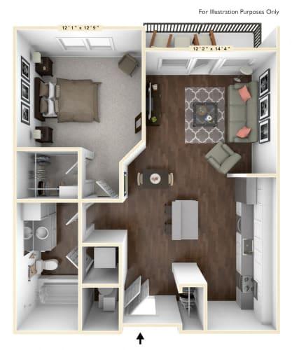 Floor Plan  S2 - Studio Floor Plan at Avant Apartments, Carmel, IN, 46032