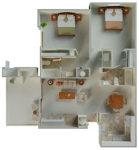 Floor Plan  Belmont 2x2 1035 sqft floor plan