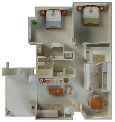 Floor Plan  Derby 2x1 980 sqft floor plan