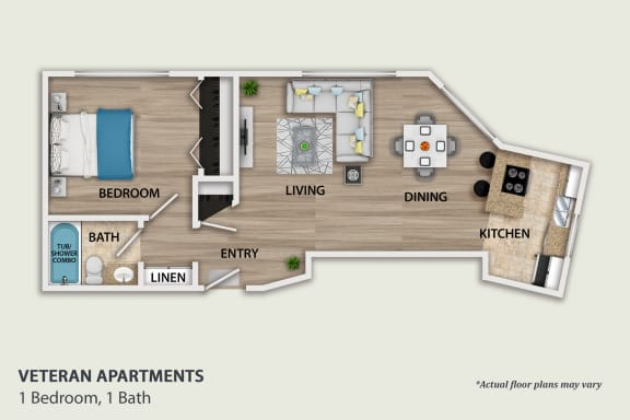 Floor Plan  1 Bedroom, 1 Bath