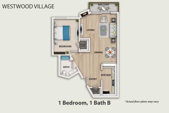 Floor Plan  westwood village 1 Bedroom 1 Bathroom