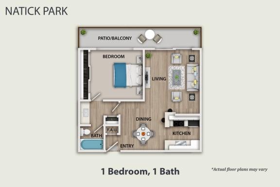 Floor Plan  1 Bedroom, 1 bath, opens a dialog.