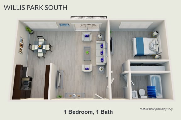 Floor Plan  One Bedroom, One Bath, opens a dialog.
