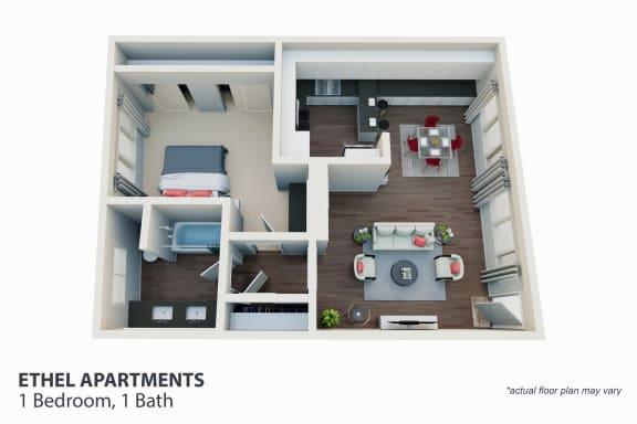Floor Plan  1 Bedroom, 1 Bath