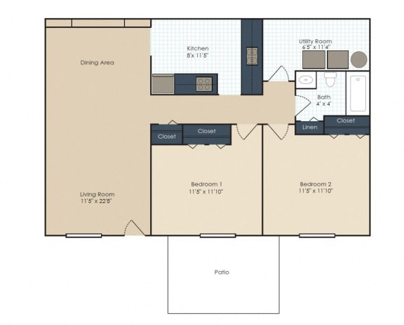 Floor Plan  Two bedroom, one bathroom two dimensional floor plan.