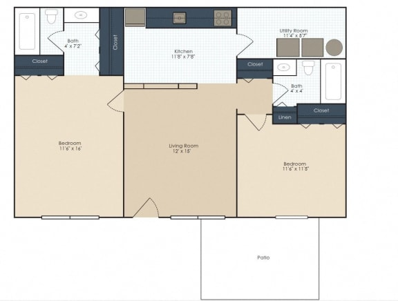 Floor Plan  Two bedroom, two bathroom renovated two dimensional floor plan.