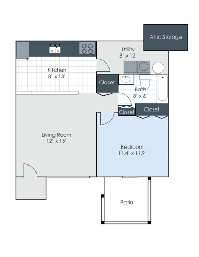 Floor Plan  One bedroom, one bathroom renovated two dimensional floor plan.