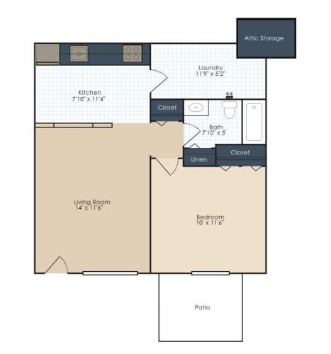 Floor Plan  One bedroom, one bathroom two dimensional floor plan., opens a dialog.
