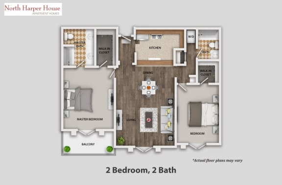 Floor Plan  Two Bedroom, Two Bath, opens a dialog.