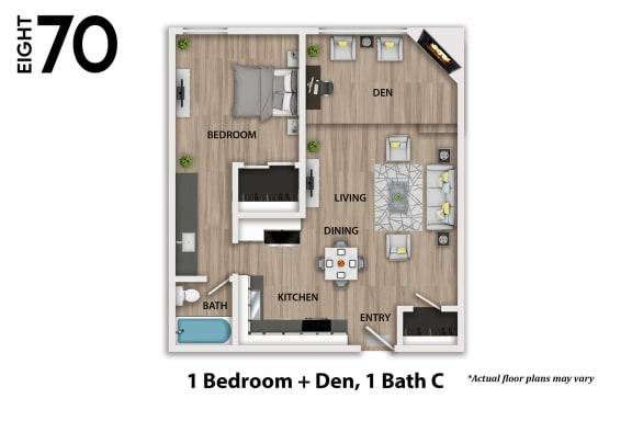 Floor Plan  1 Bedroom Plus Den at 870 Hilgard.
