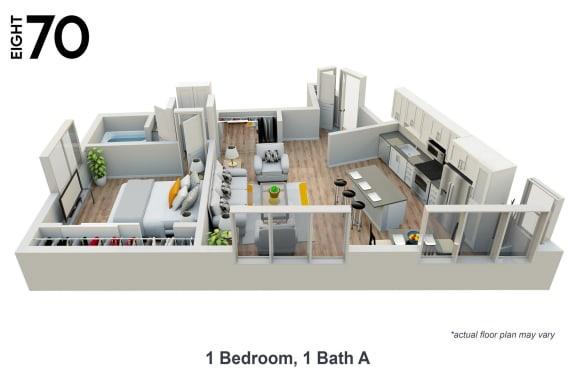 Floor Plan  1 Bedroom, 1 Bath Floor Plan at eight70 Apartments.
