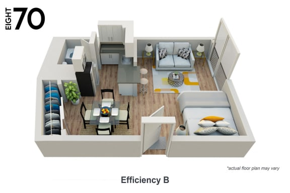Floor Plan  Efficiency Apartment Floor Plan at 870 Hilgard in Westwood Village